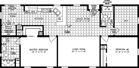 Three Bedroom Two Bath split floor plan