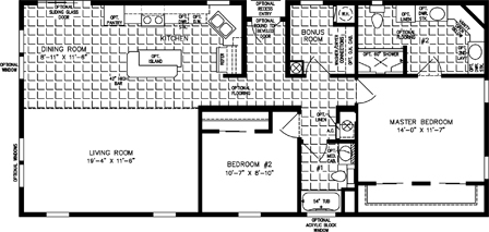 Two Bedroom Two Bath Island Kitchen open floor plan