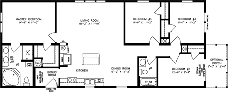 Four Bedroom, Two Bath with open kitchen and front porch