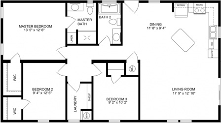 Three Bedroom Two Bath floor plan with open Kitchen