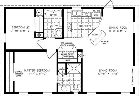 Manufactured home Floor Plan: The T N R | Model TNR-2362A  2 Bedrooms, 2 Baths