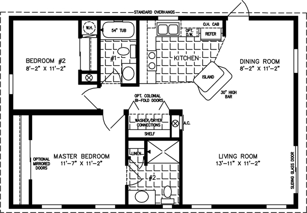 Manufactured Home Floor Plan: The T N R U2022 Model TNR 2362A 2 Bedrooms, ...