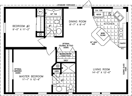 Manufactured Home Floor Plan for Model TNR-3364
