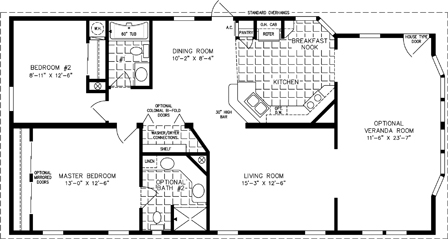 Manufactured home  Floor Plan: The T N R Model TNR-3403B  2 Bedrooms, 2 Baths