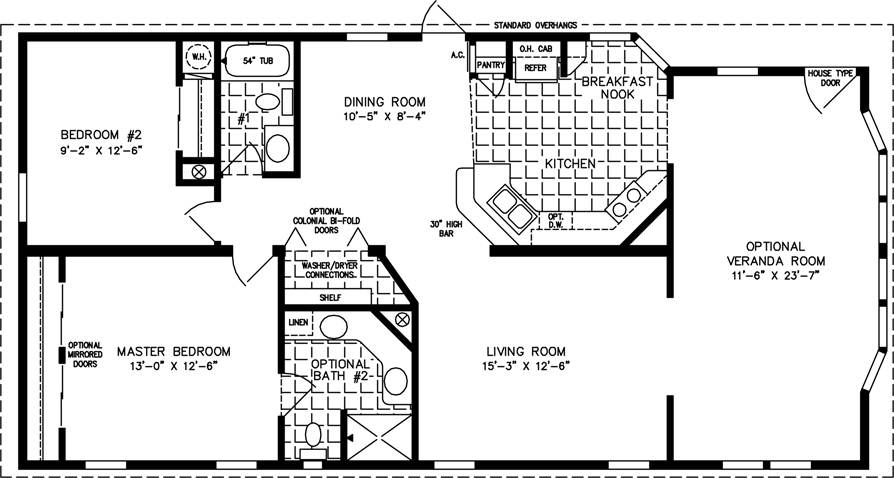 Manufactured Home Floor Plan: The T N R Model TNR 3403B 2 Bedrooms, 2 Baths  ...