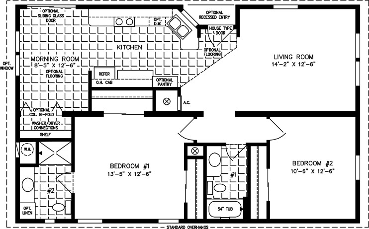 The tnr 4423b manufactured home floor plan jacobsen homes for 1000 sq ft modular homes
