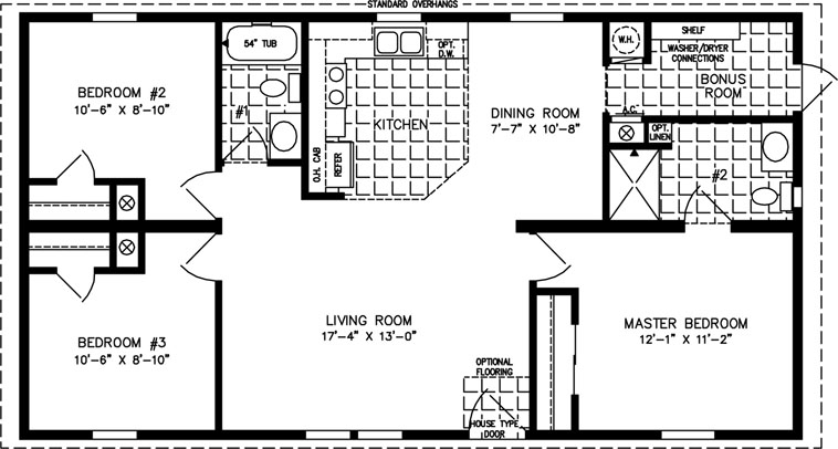 Manufactured Home Floor Plan: The Imperial • Model IMP-4442A  3 Bedrooms, 2 Baths