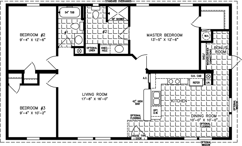 manufactured home  Floor Plan: The T N R • Model TNR-4444B  3 Bedrooms, 2 Baths