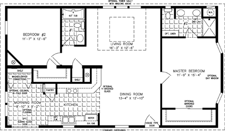 Manufactured Home Floor Plan: The T N R | Model TNR-4463B  2 Bedrooms, 2 Baths