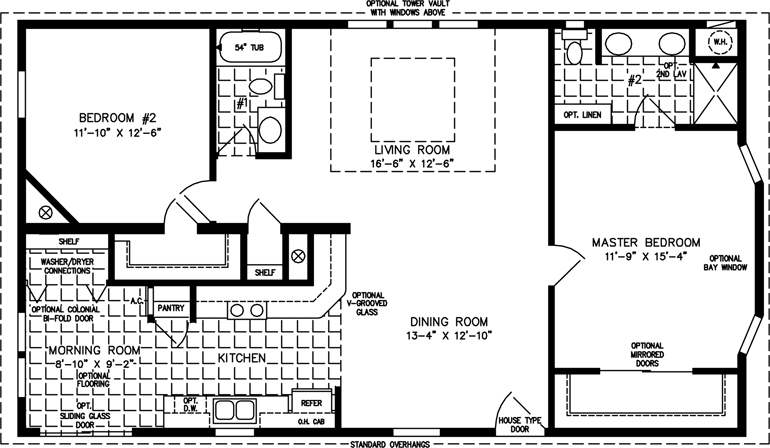 Manufactured Home Floor Plan: The T N R • Model TNR-4463B  2 Bedrooms, 2 Baths
