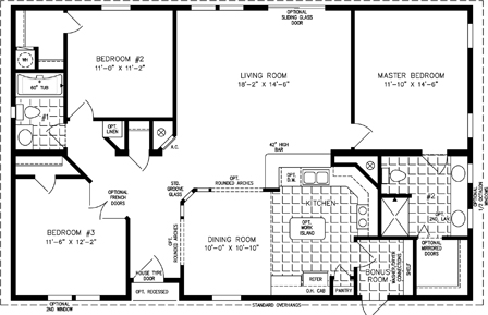 Manufactured Home Floor Plan: The TNR | Model TNR-44810W  3 Bedrooms, 2 Baths