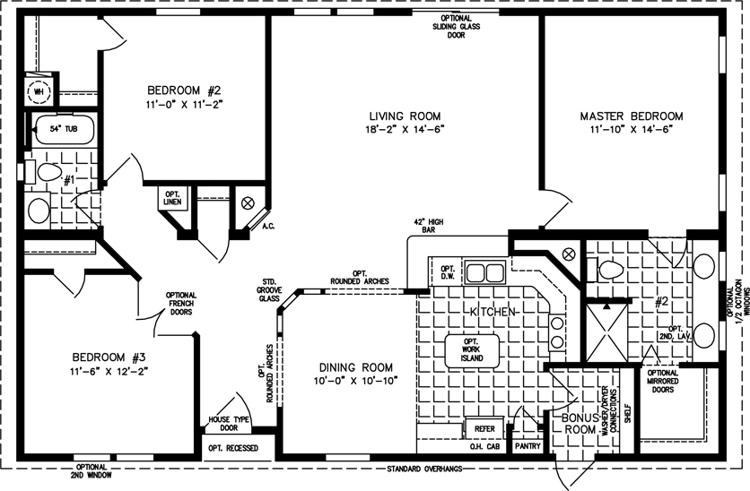 Manufactured Home Floor Plan: The TNR U2022 Model TNR 44810W 3 Bedrooms, ...