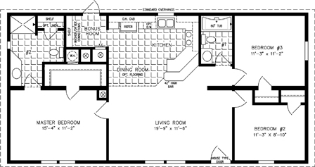 Manufactured Home Floor Plan: The T N R | Model TNR-44811A  3 Bedrooms, 2 Baths