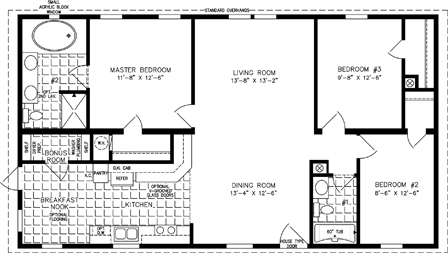 Manufactured Home Floor Plan: The T N R | Model TNR-44812B  3 Bedrooms, 2 Baths