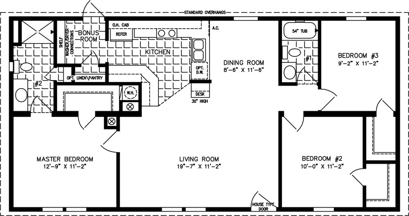 The tnr 4489a manufactured home floor plan jacobsen homes for 1000 sq ft modular homes