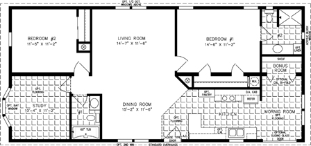 Manufactured home Floor Plan: The T N R | Model TNR-4529A  2 Bedrooms, 2 Baths