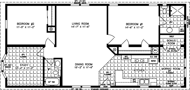 Manufactured home Floor Plan: The T N R • Model TNR-4529A  2 Bedrooms, 2 Baths