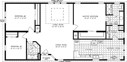 Manufactured Home Floor Plan: The T N R | Model TNR-4544B  3 Bedrooms, 2 Baths