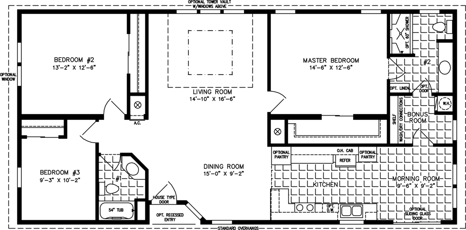 Manufactured Home Floor Plan: The T N R • Model TNR-4544B  3 Bedrooms, 2 Baths