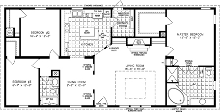 Manufactured Home Floor Plan: The T N R | Model TNR-4566B  3 Bedrooms, 2 Baths