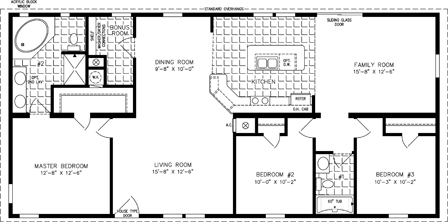 Manufactured Home Floor Plan: The T N R | Model TNR-4568B  3 Bedrooms, 2 Baths