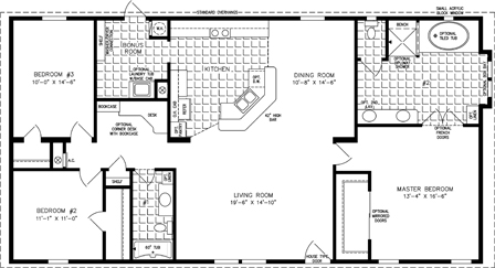 Manufactured Home  Floor Plan: The T N R | Model TNR-4582W  3 Bedrooms, 2 Baths