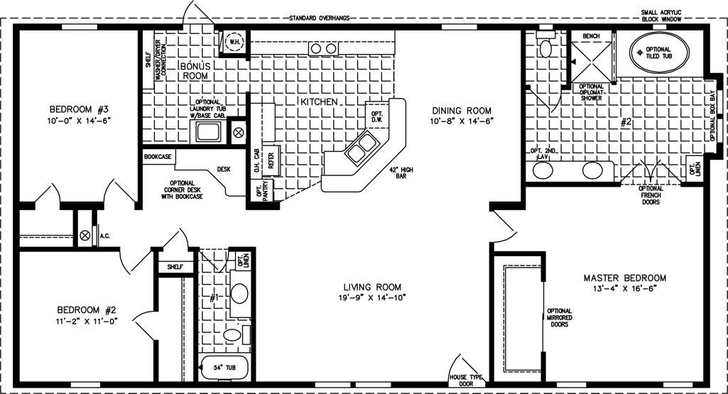Manufactured Home  Floor Plan: The T N R • Model TNR-4582W  3 Bedrooms, 2 Baths