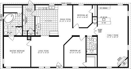 Manufactured Home Floor Plan: The T N R • Model TNR-46014W  3 Bedrooms, 2 Baths