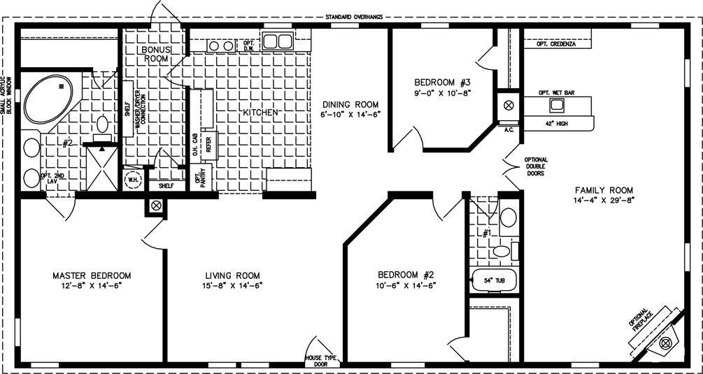 3 bedroom 2 bath mobile home floor plans