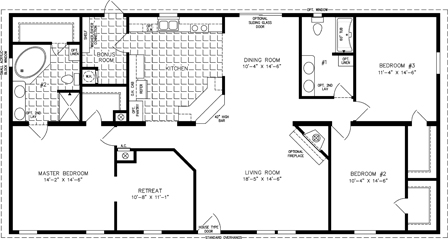 Manufactured Home Floor Plan: The T N R | Model TNR-46017W  3 Bedrooms, 2 Baths