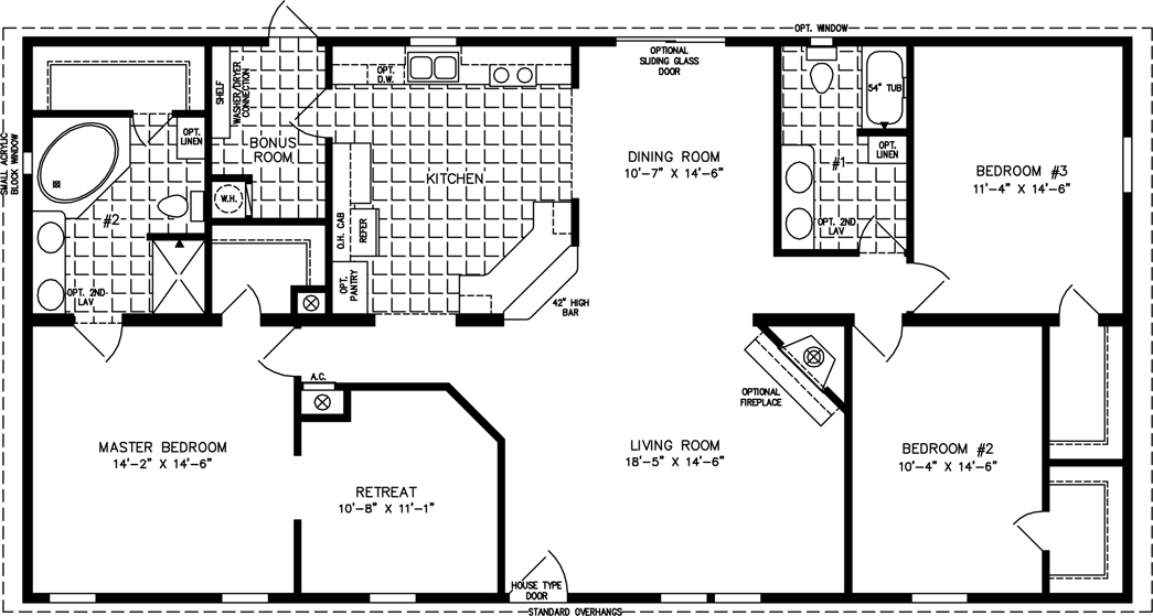 Manufactured Home Floor Plan: The T N R U2022 Model TNR 46017W 3 Bedrooms, ...