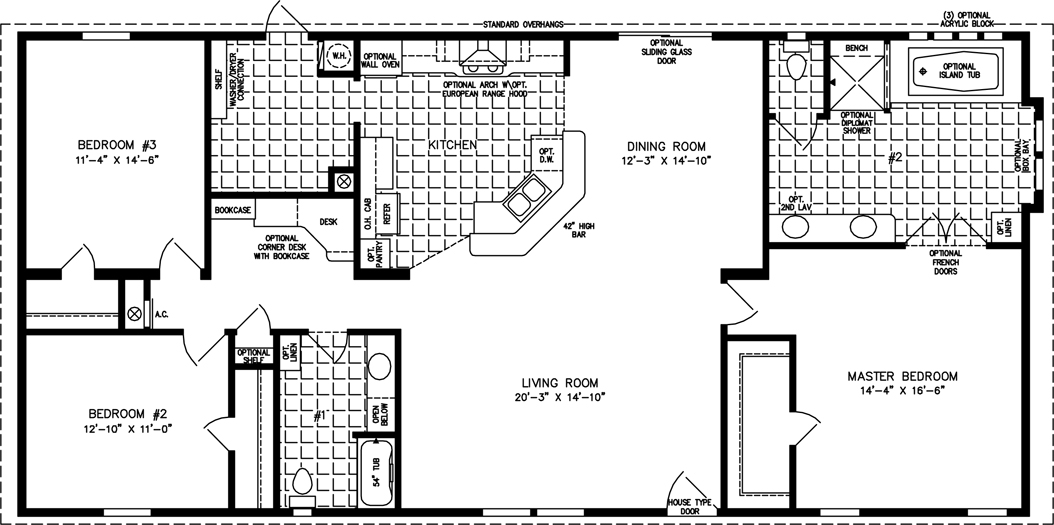Manufactured Home  Floor Plan: The Imperial • Model IMP-46413W  3 Bedrooms, 2 Baths