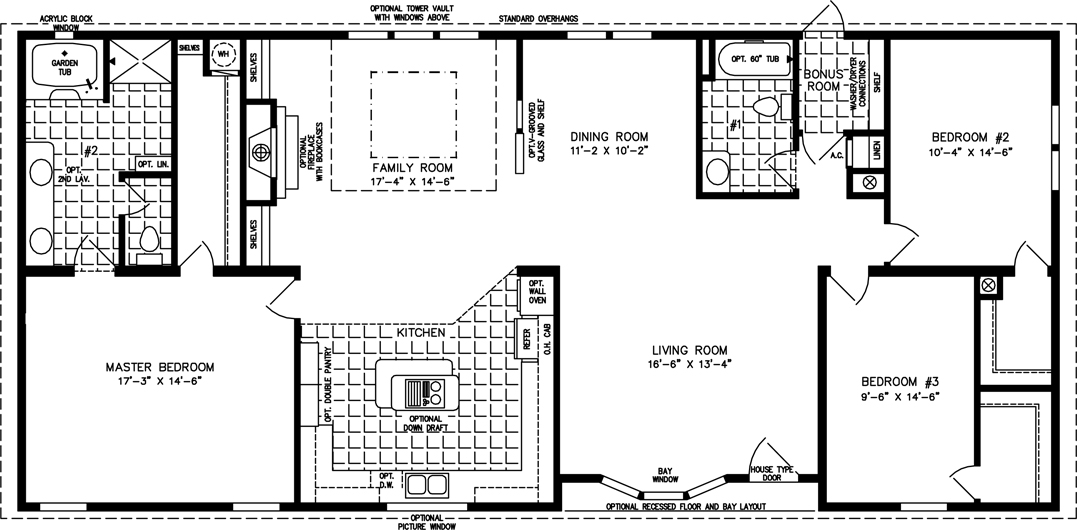 The tnr 4668w manufactured home floor plan jacobsen homes for 2000 square foot house plans with walkout basement