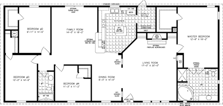 Manufactured Home  Floor Plan: The T N R | Model TNR-46811W  4 Bedrooms, 2 Baths