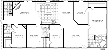 Manufactured Home Floor Plan: The T N R | Model TNR-46814W  4 Bedrooms, 2 Baths