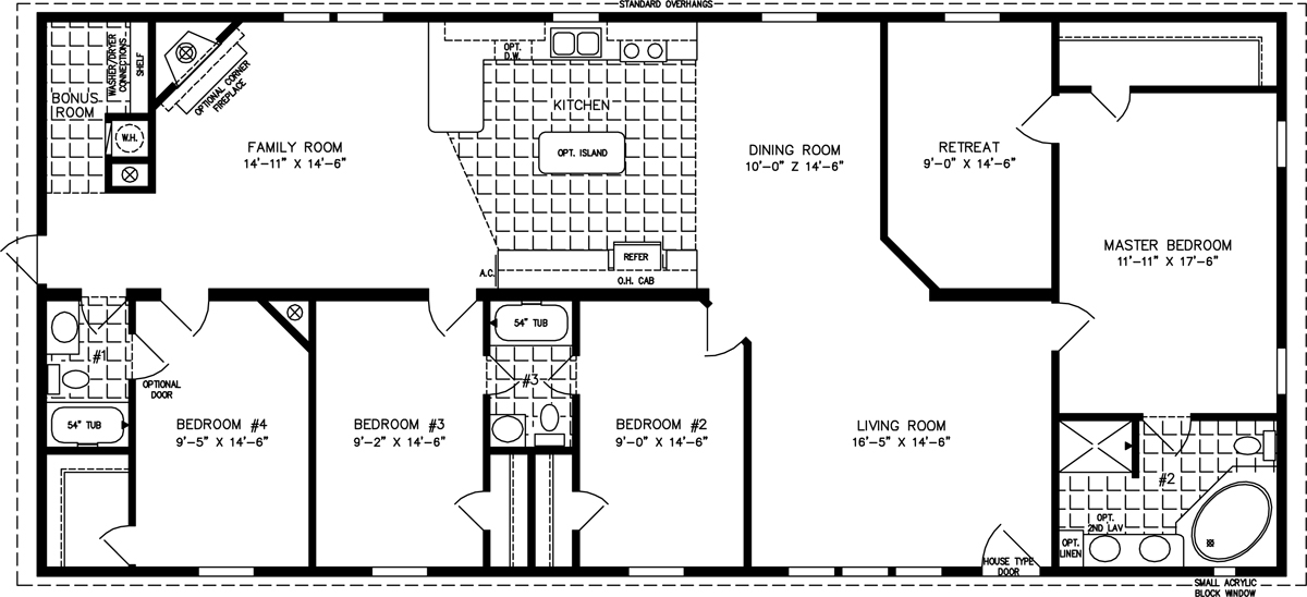Manufactured Home Floor Plan: The T N R • Model TNR-46814W  4 Bedrooms, 2 Baths