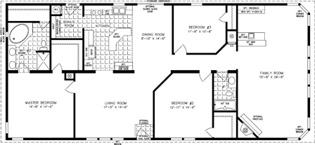 Manufactured home Floor Plan: The T N R | Model TNR-46815W  3 Bedrooms, 2 Baths