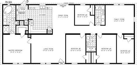 Manufactured Home Floor Plan: The T N R | Model TNR-4686W  5 Bedrooms, 3 Baths
