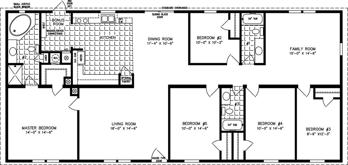 manufactured home floor plan the t n r model tnr 4686w 5 bedrooms 3 exterior rendering jacobsen homes - Floor Plans For Homes