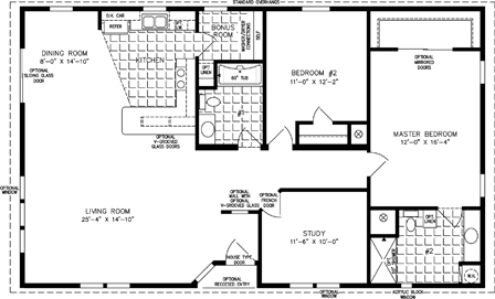 Manufactured Home Floor Plan: The T N R | Model TNR-5501W  2 Bedrooms, 2 Baths