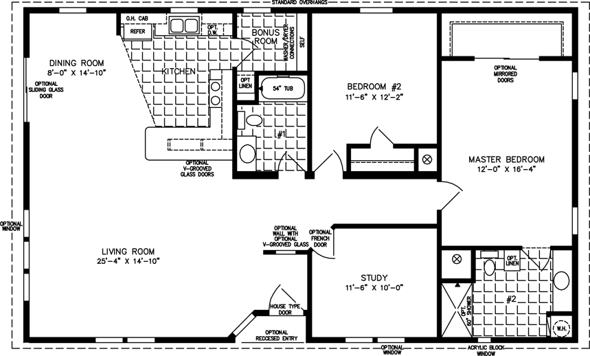 1400 to 1599 sq ft manufactured home floor plans for Floor plans 50 feet wide