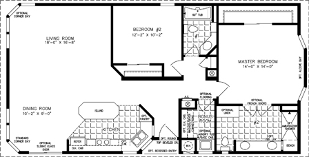 Manufactured Home Floor Plan: The TNR Model TNR-5521B  2 Bedrooms, 2 Baths