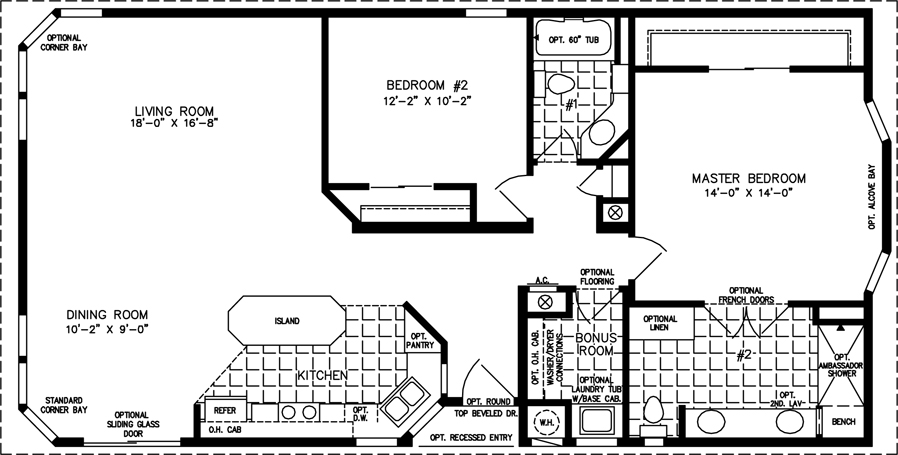 Manufactured Home Floor Plan: The TNR U2022 Model TNR 5521B 2 Bedrooms, 2 ...