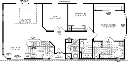 Manufactured Home Floor Plan: The TNR | Model TNR-5571B  2 Bedrooms, 2 Baths