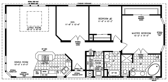 Manufactured Home Floor Plan: The TNR • Model TNR-5571B  2 Bedrooms, 2 Baths