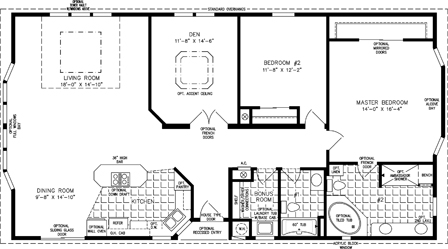 Manufactured Home  Floor Plan: The TNR | Model TNR-5571W  2 Bedrooms, 2 Baths