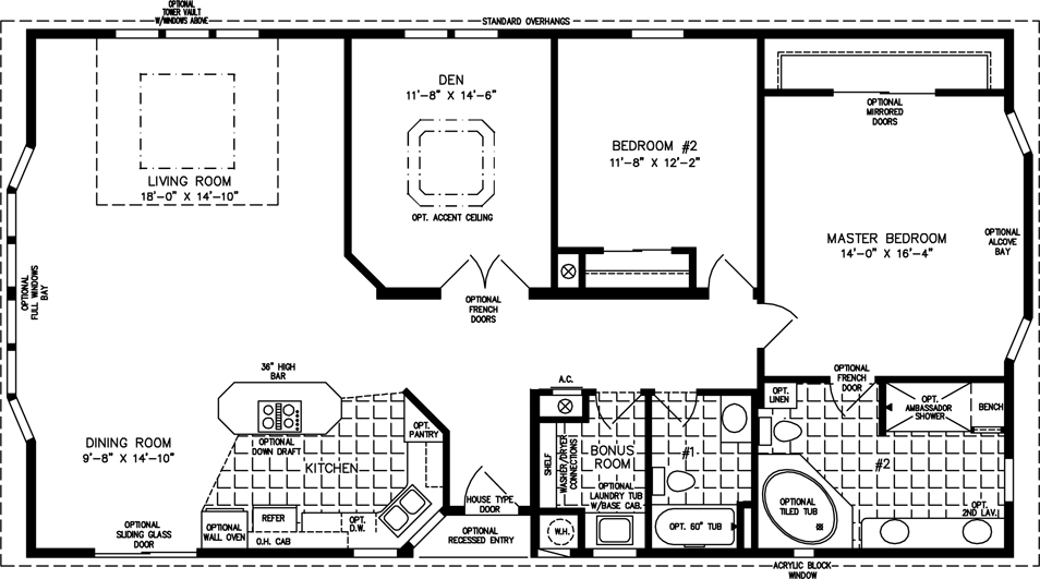 Manufactured Home  Floor Plan: The TNR • Model TNR-5571W  2 Bedrooms, 2 Baths