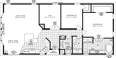 Manufactured Home Floor Plan: The TNR | Model TNR-5572B  2 Bedrooms, 2 Baths