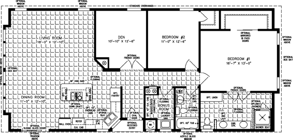 Manufactured Home Floor Plan: The TNR • Model TNR-5573B-34060  2 Bedrooms, 2 Baths