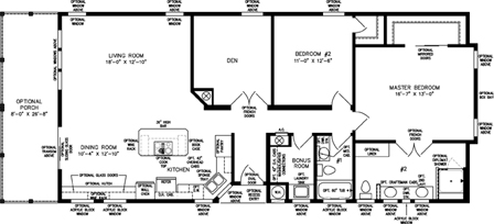 Two Bedroom with Den and Full Porch